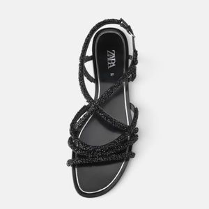 Zara flat sandals with beaded straps.